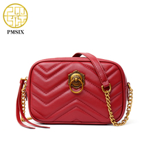 PMSIX Summer New Quilting Red Genuine Leather Chain Crossbody Bag Fashion High Quality Designer Handbag Classic Flap Bag 210020(China)