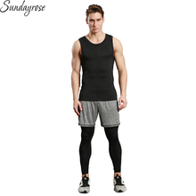 3 Pieces Brand Sport Suit Men's Compression Vest+Shorts+Leggings Workout Sportswear Tracksuit Elastic Gym Fitness Running Sets