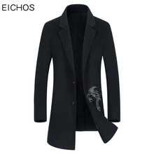 EICHOS High Quality Double-sided Wool Coats 2017 New Mens Peacoat Slim Long Trench Coat Embroidery Men Wool Overcoat NZY306A(China)