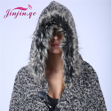 Jinjin.QC Women's Wool Hooded Poncho with Faux fur Hat Winter Scarves Black Scarves and capes echarpe foulard femme bufanda(China)