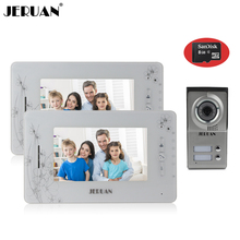 JERUAN 7`` video doorphone intercom system video door phone speaker doorbell video recording photo taking+8GB Card+free shipping