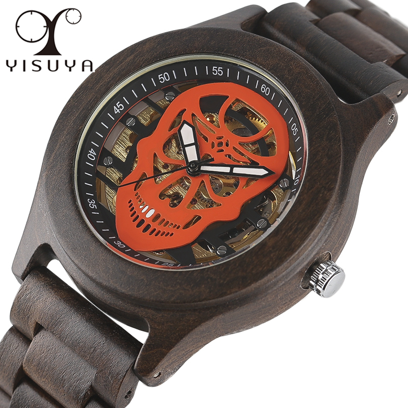 YISUYA Luxury Automatic Mechanical Mens Watch Unique Steel Skull Skeleton Clock Natural Full Wooden Bangle Sport Reloj de madera<br>