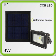 Manufacturer solar 3W HIGH BRIGHT COB LED flood light led courtyard light led projector 2000mah Li-ion battery ourdoor wall lamp(China)