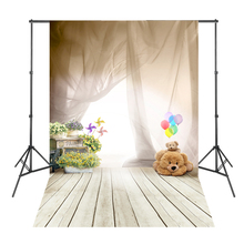 Gauze Bears Flowers White Floor Wood Board Photography Background Photo Backdrops Fotografia Profissional(China)