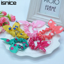 isnice 12pcs Cute bunny ears dot chiffon headwear elastic rubber band girl flower headbands kids hair accessoriy pop ornaments(China)