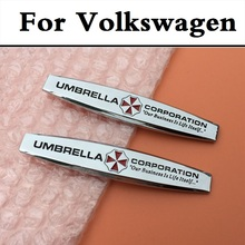 2PCS 3D Metal Stickers Umbrella Corporation Car Styling Decor For Volkswagen Beetle Bora Eos Fox Golf GTI Golf Plus Golf R