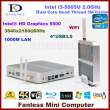 DHL free nettop core i3-5005U 4G RAM+32G SSD+500G HDD with Intel HD Graphics 5500,HDMI,VGA,300M WIFI,fanless linux pc