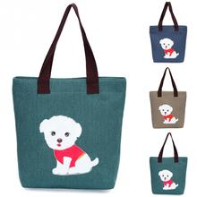2017 High Quality Women's Lovely Handbag Dog Pattern Shoulder Canvas Zipper Bags Shopping Reusable Bag