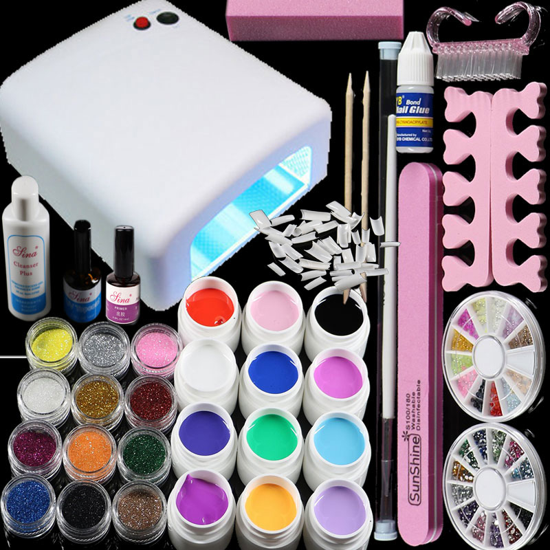 BTT-76 Professional Full Set 12 color UV Gel Kit Brush Nail Art Set + 36W Curing UV Lamp kit Dryer Curining Tools<br>