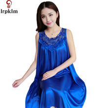 Summer Spring New Style Women Faux Silk Lace Bow Loose Plus Size M-4XL Suspenders Sexy Night Dress Women Home Sleepshirts SY595(China)