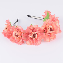 CXADDITIONS Big Peony Headband Flower Crown Hairpiece Floral Hairbands Headwrap Hair Garland Accessories Wedding Women Christmas(China)
