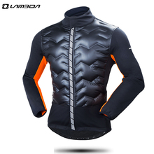 winter windproof thermal cycling jacket jersey warm long down cotton jacket mens bike bicycle coat outdoor sports clothing(China)
