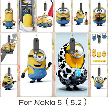 AKABEILA Silicone Painted Phone Cover Cases For NOKIA 5 Nokia heart Case Soft TPU Back Covers Minions Housings For NOKIA 5 Capa