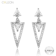 Coleon Trendy Triangle Eraring Luxury Natural Gig Gem Drop Earrings 925 Sterling Silver Fine Jewelry for Wome Girl Party Gift(China)