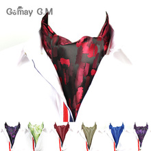 Men Vintage Wedding Ties Formal Cravat Ascot Scrunch Self British style Gentleman Polyester Neck Tie Luxury(China)