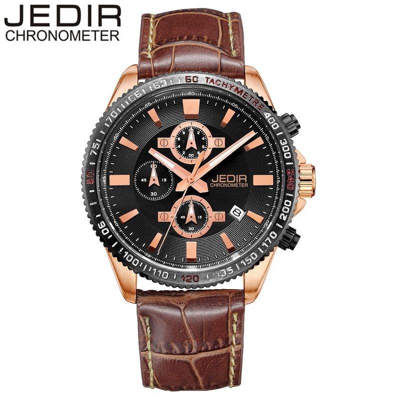 2017 JEDIR Mens Watches Top Brand Luxury Sport Day Quartz Watch Wristwatches Brown Brand Relogio masculino Gift Box Free Ship<br><br>Aliexpress