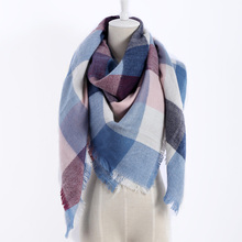 New color plaid Scarves Winter Fashion Woman's Oversized Cashmere Shawl Wrapped in Warm Blankets Square Scarf For women(China)