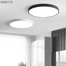 Modern Ultra-thin Round LED Ceiling Light Lamps Dimmable for Living room Kids room Kitchen Lighting Fixtures Black Flush Mount(China)