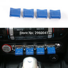 Blue For Ford Mustang 2015 2016 2017 Car Interior Center Control Navigation GPS Button Knob Cover Trim Decoration Caps 4Pcs ABS