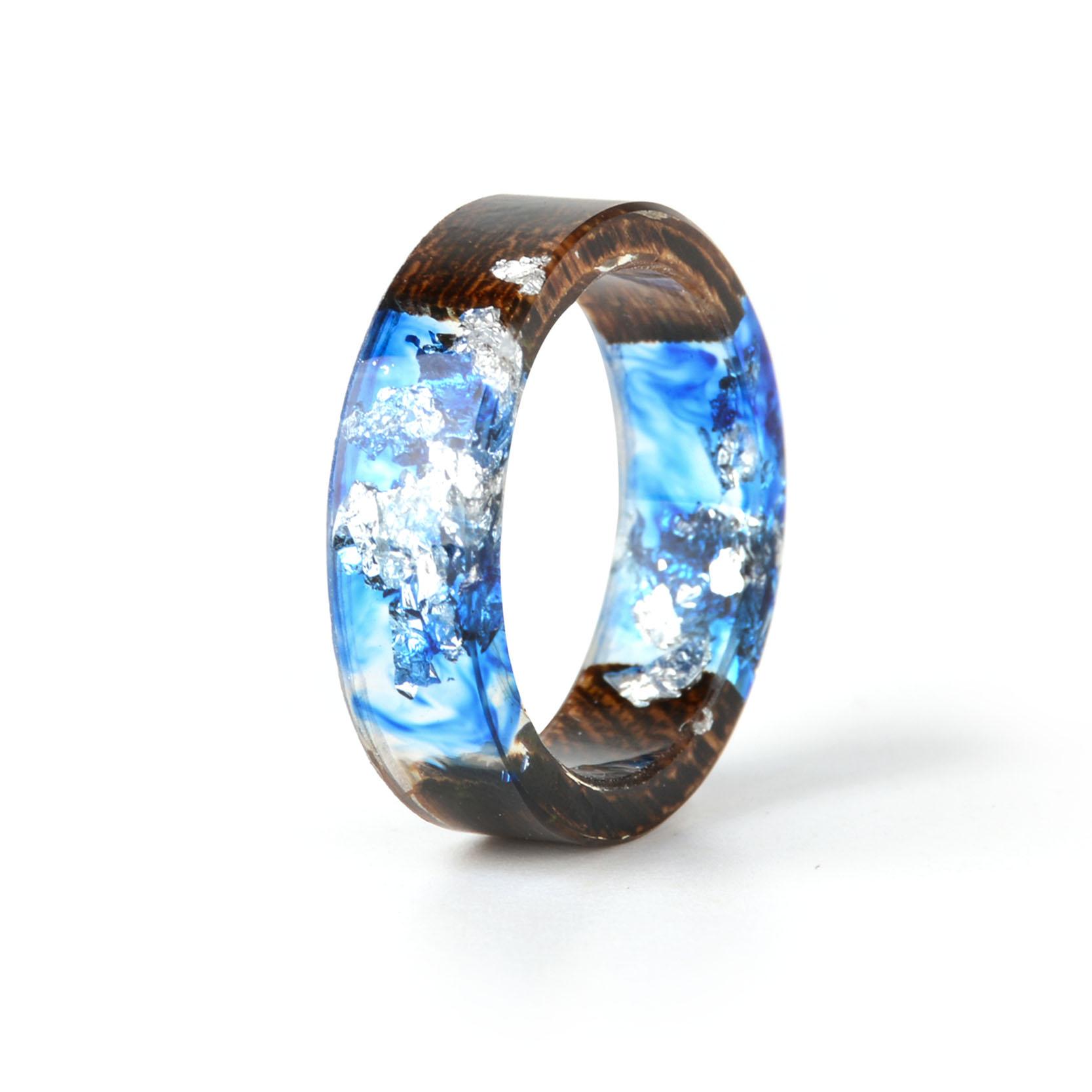 Clear Wood Resin Ring Handmade Dried Flower Hand Jewellery 13