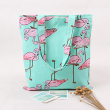 Womens Candy Color Flamingo Reusable Shopping Bag.Foldable Canvas Sky Blue Beach Lunch Grocery Shoulder Bags.Casual Tote Handbag