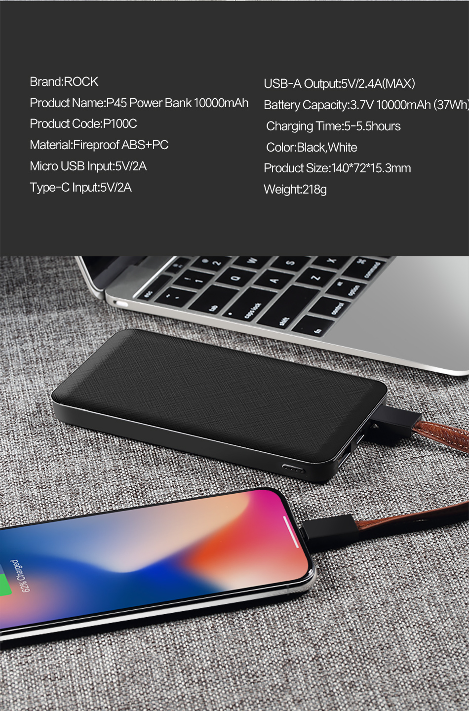 ROCK Slim 10000 mAh Power Bank,Portable Ultra-thin Polymer Powerbank battery power-bank 10000mah With LED Light for Mobile Phone 20