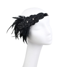 Vintage Feather Headband 1920s Headpiece Headdress Beige Black Diamond Hiar Band For Carnival Hen Party Event(China)