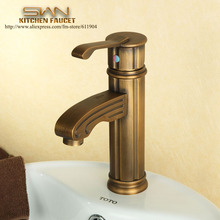 Quality Antique Brass Roman Column Bathroom Faucet Lavatory Bar Vessel Sink faucet Basin Cold Hot Mixer Tap Water taps 2210781
