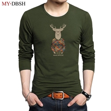 Mens Tops T-Shirts Fashion Deer Head Printed Long Sleeve tshirts Christmas hipster deer Printed Men Cotton T Shirts Male Tees(China)