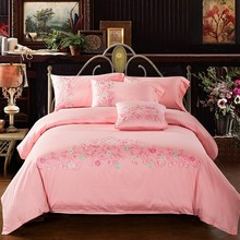 Europe Style 60s Egyptian Cotton Embroidery Bedding set King Queen Size Luxury Hotel Bed Set Pink Duvet Cover Bed linen set(China)