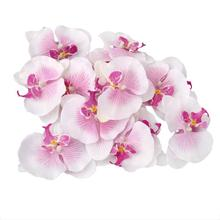 20pcs 9cm Artificial Butterfly Orchid Silk Flower Heads Home Wedding Decoration (Ivory+Purple)