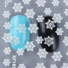 1 Sheet Christmas 3D Nail Stickers White Snowflake Pattern Nail Art Manicure Decoration XF183(China)