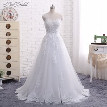 2018 New Arrival Wedding Dresses Vestido de Noiva A Line Scoop Neck Lace Appliques Sheer Bridal Gown Robe de Mariee