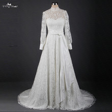 RSW1234 A Line Keyhole Lace Up Back Bridal Gown High Neckline Lace Long Sleeve Wedding Dress