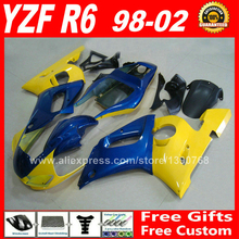 Fairings fit for YAMAHA R6 1998 1999 2000 2001 2002 yellow blue plastic parts 98 99 00 01 02 fairing kits O9G3