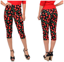10-summer women vintage 50s retro high waist wiggle capri pant in red cherry print plus size pantalones mujer femme trousers(China)
