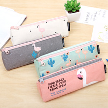 Fashion Flamingo Canvas Pencil Bag Large Capacity Pencil Case Kawaii Stationery Lovely Birds Storage Bag Gift School Supplies