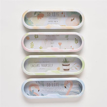 1PC Fresh Forest Life Transparent Window Pencil Box Desktop Storage Box Tin Pencil Case School Office Supply Gift Stationery
