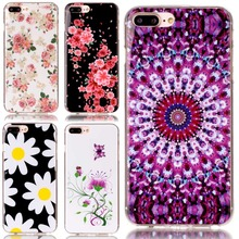 Cute Fashion Flower Soft Silicone TPU Back Cover For Apple iphone 7 Plus ipone 7Plus Crystal Phone Lovely Girls Case
