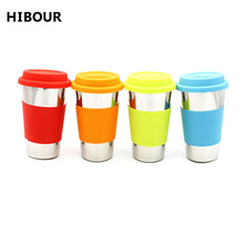 HIBOUR Outdoor 12oz Single Wall Mug Stainless Steel Water Coffee Tea Cup Non-slip Sleeve Mug Milk Drinking Cup With Silicone Lid(China)