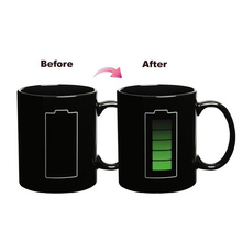 Battery Style Magic Color Change Morning Mug Creative Ceramic Cup for Gift Hot Cold Water Color-Changing SH200(China)