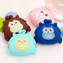 1PC Kawaii Mini Animal Case Storage Bag Candy Owl Wallet Silicone Small Pouch Cute Coin Purse for Girl Key Rubber Wallet(China)