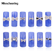 10pcs New 3d Clear Alloy Rhinestone Bow Tie Nail Art Decoration DIY Charm Nail Jewelry Accessories(China)