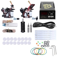 Stainless Steel Needle Mouth Stability Complete Tattoo Kit Needles 2 Machine Gun 10 Wraps Coils Power Supply 20 Color Ink Tip