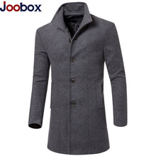 Casual Long Trench Coat Men 2017 Fashion Autumn Winter Slim Fit Trench Jacket Coat Woolen Cloth Wool Overcoat Windbreaker 3XL(China)