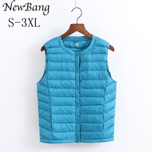 Ultra Light Down Vest Women Portable Single Breasted Lightweigt Sleeveless Without Collar Winter Warm Liner With Bag 9 Colors(China)
