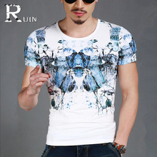 Natural element butterfly printing Tops men's clothing summer shirt short sleeve men t-shirt cotton Tees 1076(China)