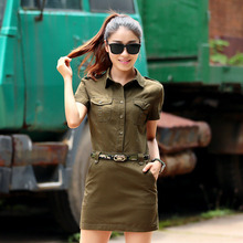 Military Dress Women Army Green Dresses 2017 Summer New Short Sleeves Epaulet Embellished Free Shipping (Include Belt)