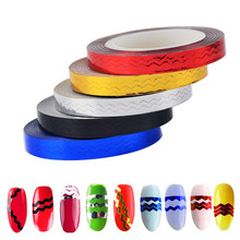 Pro 6 Rolls Nail Art Sticker Tips Saw Zigzag Striping Tape Metallic Yarn Wave Line Decoration