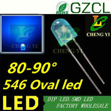Good quality oval 5mm blue led 465-475nm Diffused 546 display led without stopper 5mmX4mmX6mm(CE&Rosh)(China)